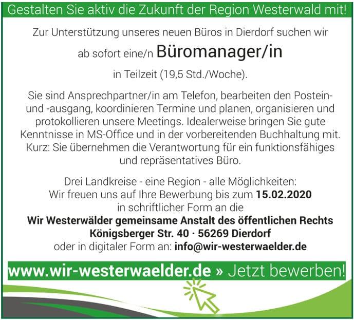 Stellenanzeige Bürokraft Geschäftsstelle Dierdorf - Wir Westerwälder-short