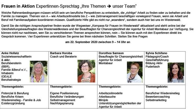 """""""Expertinnen-Sprechtag """"Ihre Themen - unser Team"""""""""""
