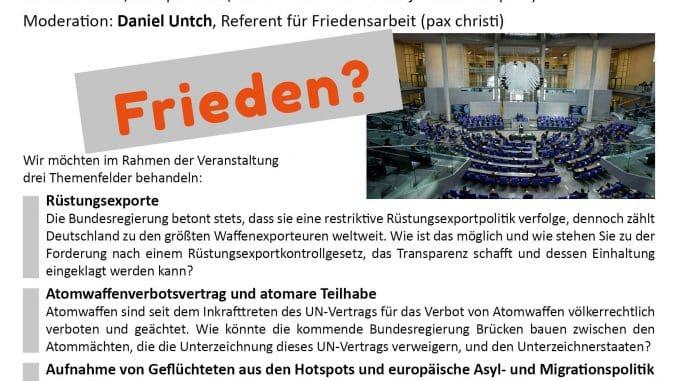 Friedenspolitische Fragen unserer Zeit Podiumsdiskussion vor der Bundestagswahl mit den Direktkandidat:innen aus dem Wahlkreis Westerwald